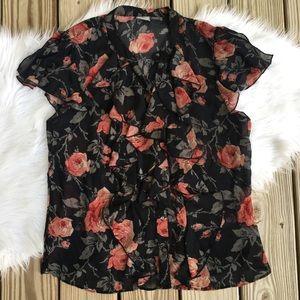 Converse Floral Ruffle Semi Sheer Button Up Top